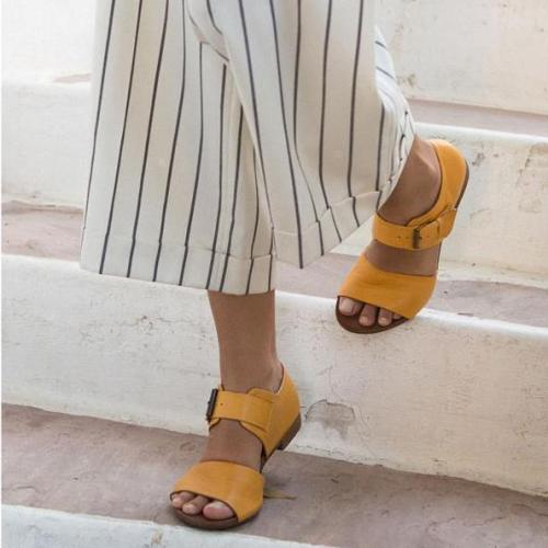 Summer Peep-Toe Low Heels Buckle Women Sandals