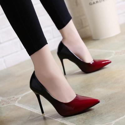 Shallow Pump Basic Sandals Gradient Ramp Colors Slip On PU High Heels