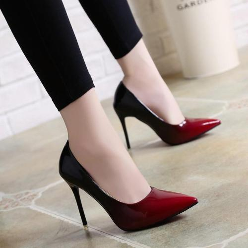 Shallow Pump Basic Sandals Gradient Ramp Colors Slip On PU High Heels