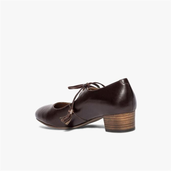 Spring 2020 mid-heeled round toe lace-up single shoes
