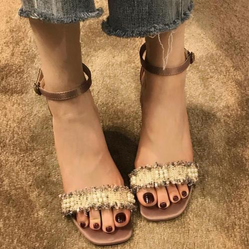 Sweet Imitation pearls Date Chunky Heel Sandals