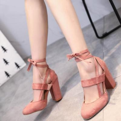 Ankle Strap High Heels Flock Gladiator Shoes Thick Heel Fashion Women