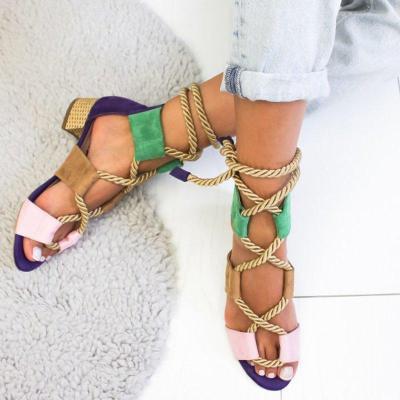 Boho Style Color Block Crisscross Medium Heel Sandals