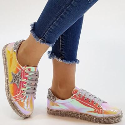 Casual Lace-Up Contrast Color Flat Sneakers