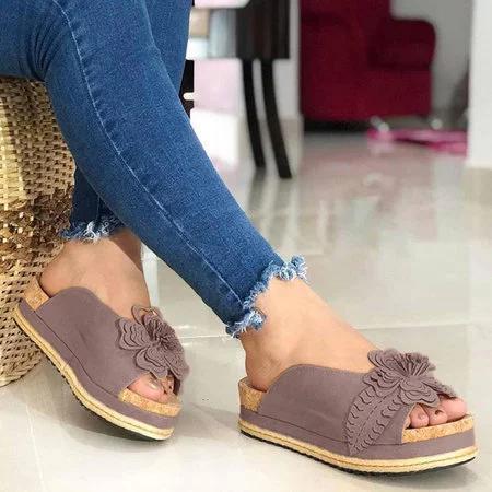 Flower Trim Platforms Slip-On Sandals