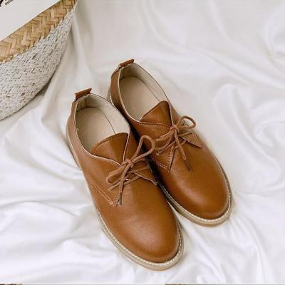 Casual Flats Round Toe Daily PU Breathable Shoes Lace Up Loafers