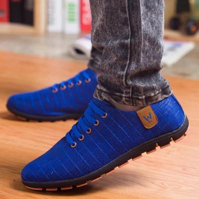 Men Low Lace-up Canvas Shoes