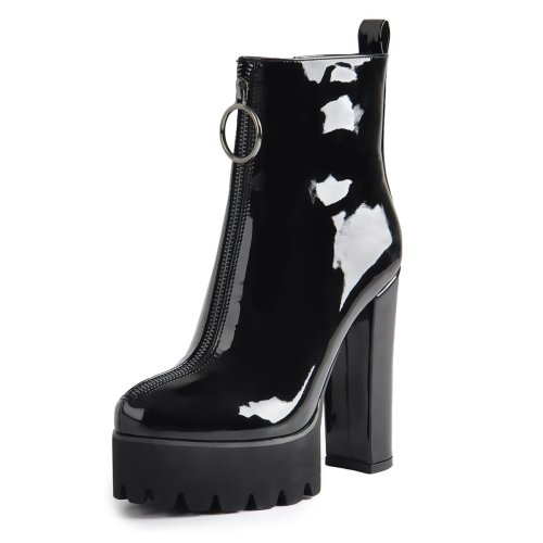 Round Toe Black Patent Leather Platform Chunky High Heel Ankle Boots