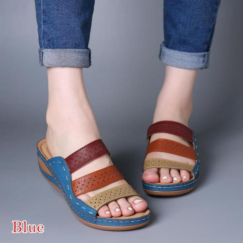 Beach Sandals Open Toe Wedges Vintage Shoes Woman Mid Heels Sandal Slippers