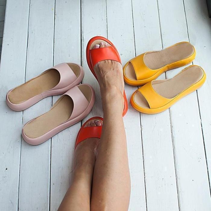 Women's Fashion Footbed Peep Toe Slip On Slide Sandals