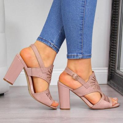 Women Hollow-Out Simple Buckle Strap Back High Chunky Heels