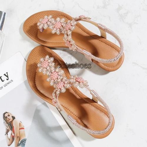 Bohemian Sandals Summer Rhinestones Style Flat Shoes Women's Fashion Shoes