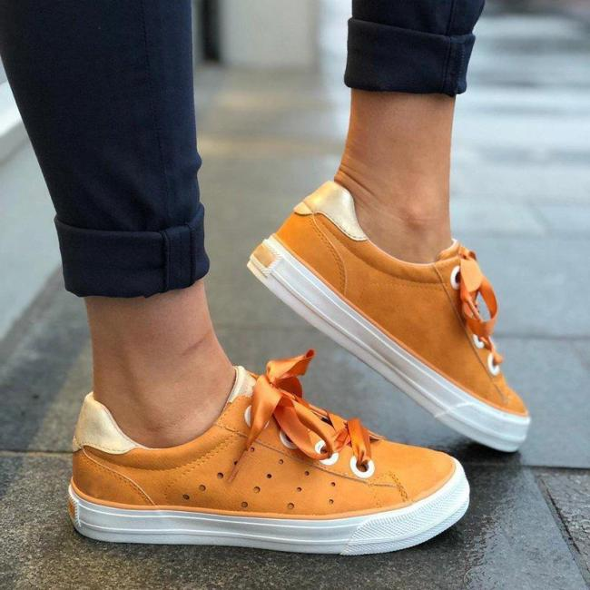 Hollow-Out Well-Ventilated Lace-Up Casual Gender-Neutral Sneakers