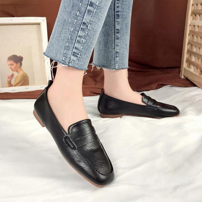 Vintage Solid Square Toe Artificial Leather Loafers