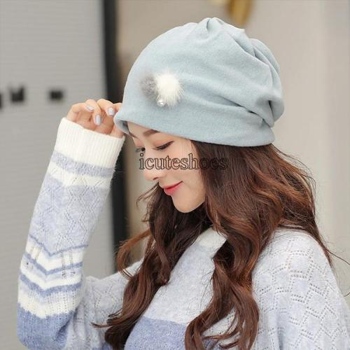 Hat Female Pearl Feather Heap Hat Casual Turtleneck Hat Autumn Breathable Pregnant Women's