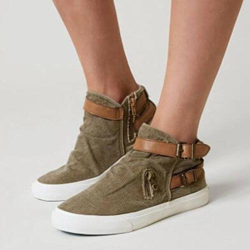 Women Canvas Adjustable Buckle Casual Sneakers