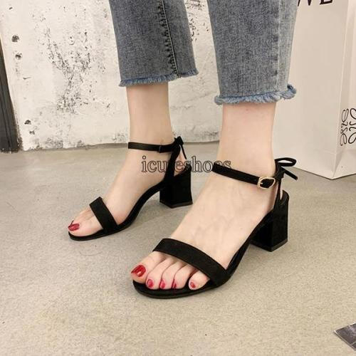 2020 New Summer Waterproof Platform Sandals Style with Thick Heel with A Button-down Bow Heels