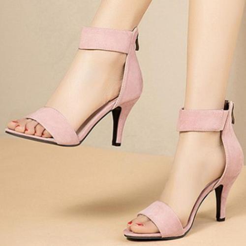Summer High Heel Zipper Suede Sandals