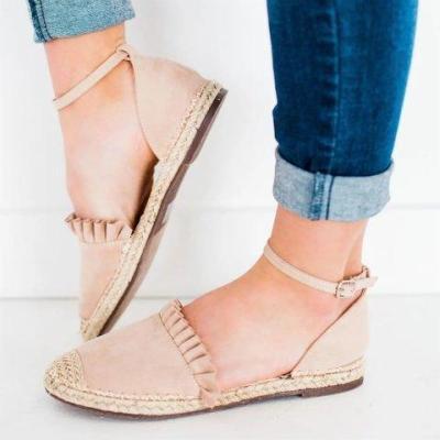 Ruffle Suede Buckle Strap Women Shoes