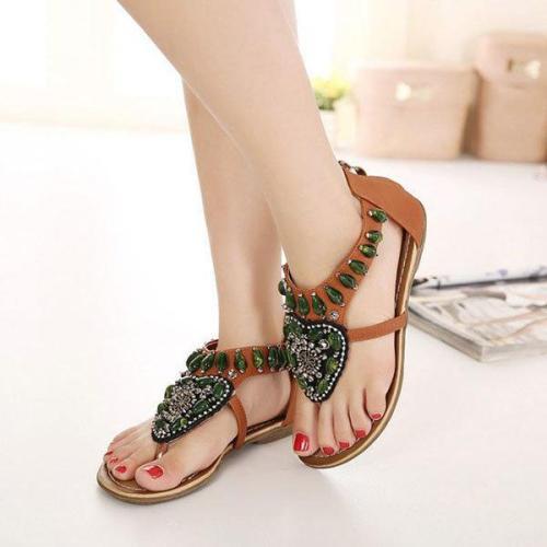 SOCOFY Rhinestone Clip Toe Bohemia Flat Sandals