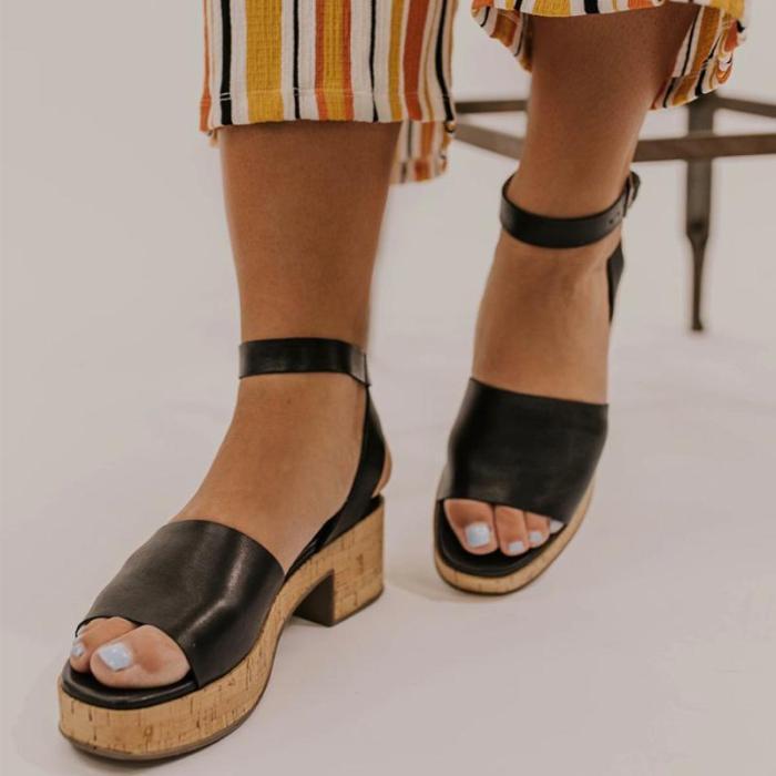 Vintage Plain Ankle Strap Platform Chunky Sandals