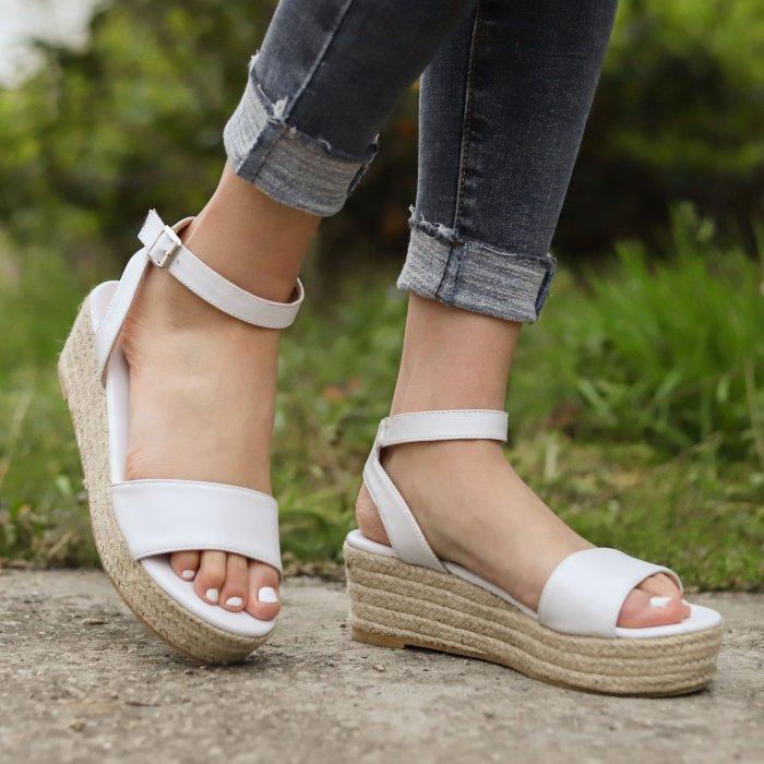 Women's PU Peep Toe Adjustable Buckle Wedge Sandals