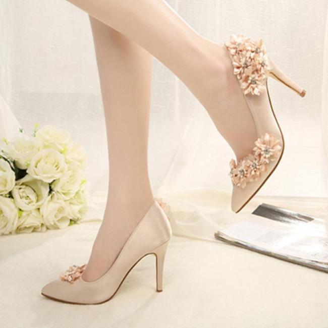Stiletto Heel Flower Rhinestone Heels