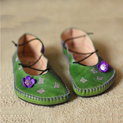 Women Vintage Floral Flat Heel Shoes