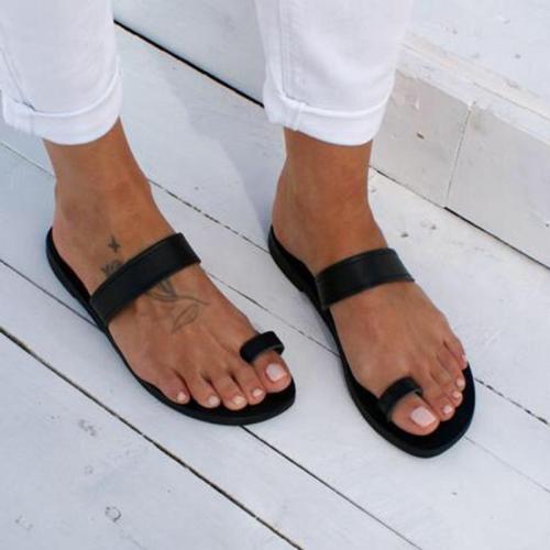 Women's PU Round Toe Beach Slip-On Flat Slippers