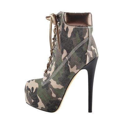 Brown Camouflage Canvas Round Toe Lace-up Ankle Boots