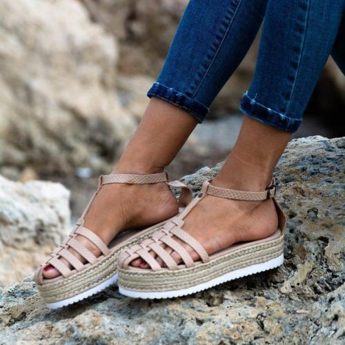 Leopard Print Interlace Ankle Strap T-Bar Hollow Straw-Weaved Platforms Sandals