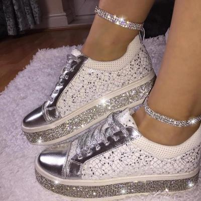 Women's Fashion Solid Color Hot Drilling Decorative Round Head Casual Shoes