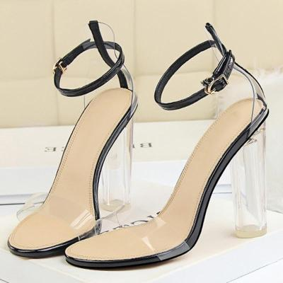 Sexy PVC Holiday Summer Chunky Heel Sandals