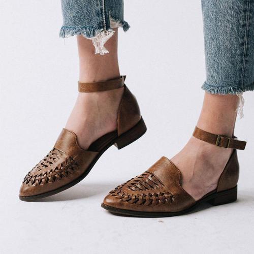 Ankle Strap Vintage Crisscross Hollow Low Heels Sandals