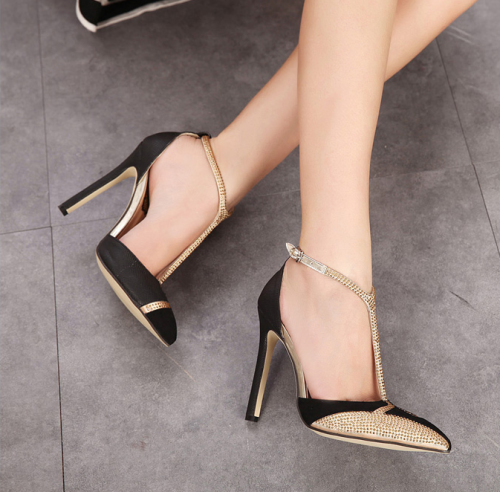 Rhinestone T-Pointed High-Heeled Shoes
