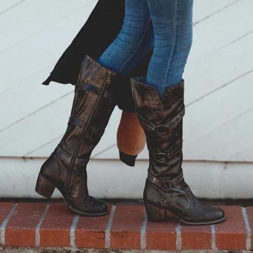 Women Vintage Zipper Chunky Heel Boots
