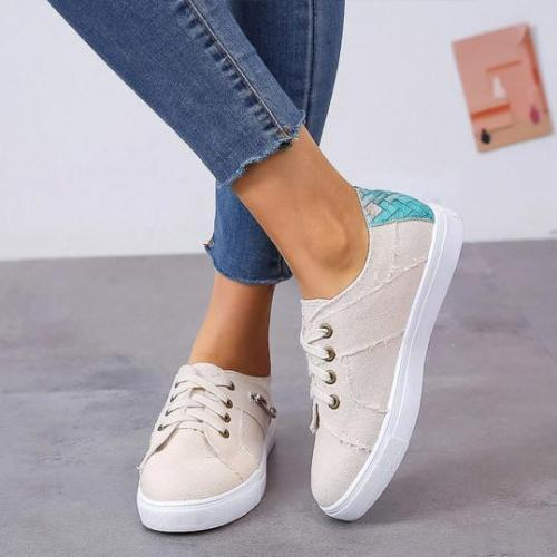 Color Block Flat Round Toe Casual Travel Sneakers