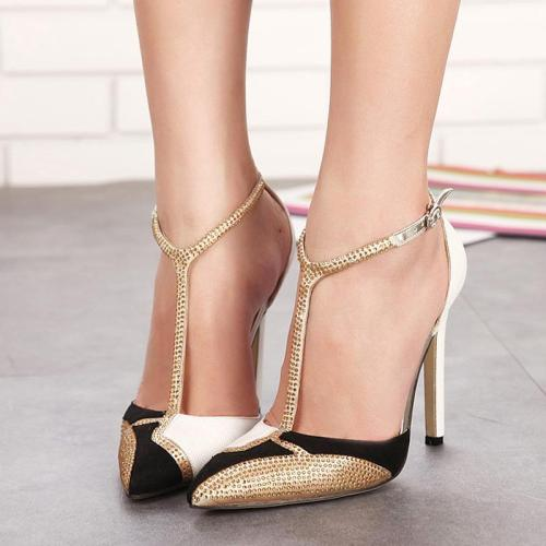 fashion high-heeled shoes pointed rhinestone color matching sexy stiletto sandals