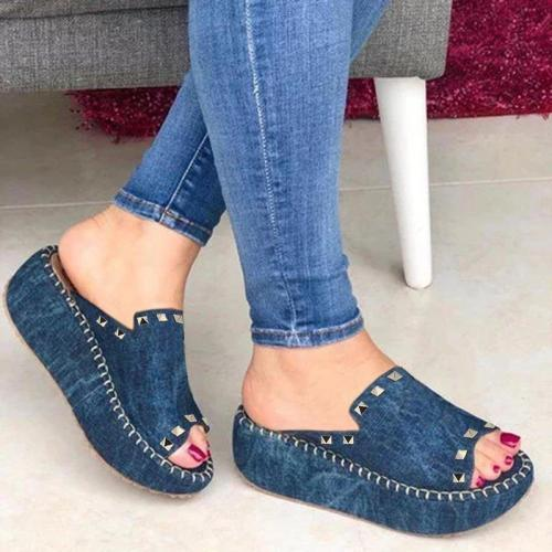 Casual Slip On Sandals Wedge Heel Rivet Women's Shoes