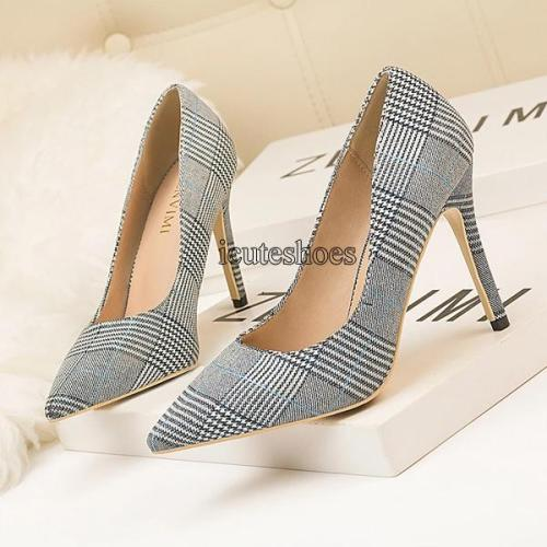 Fashion Slim Heel Shiny Lattice Pointed Sexy Night Shop Thin Women Single Shoes High Heels