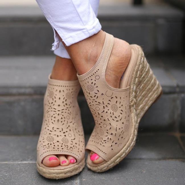 Hollow Peep Toe Sky-High Wedges Heels Mule Sandals