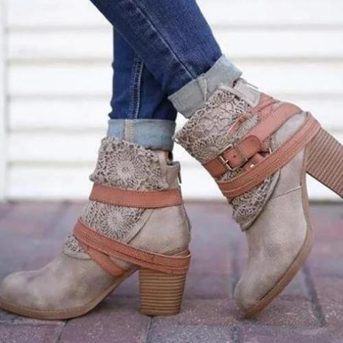 Fashion Women Lace Round Toe Slip-On Boots