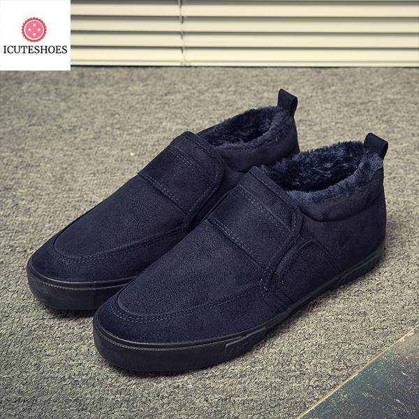 Casual Shoes for Winter Warm Fleeces Slip-on Flat Snow Shoes Fashion Solid Loafers