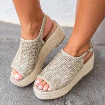 Straw Weaved Ankle-strap Thick Platform Peep Toe Sandals