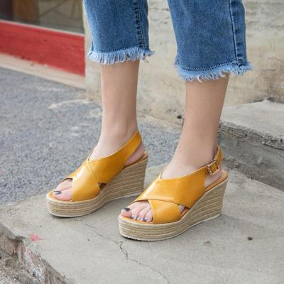 Genuine Leather Braided Wedge Heel Daily Shoes