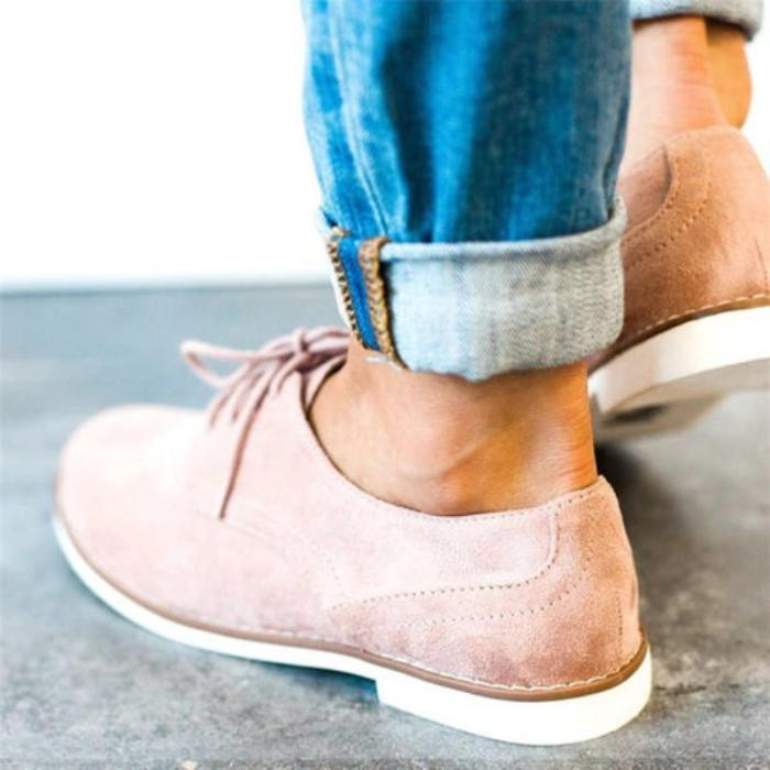 Comfort Low Heel Oxford Shoes Lace-up Daily Loafers
