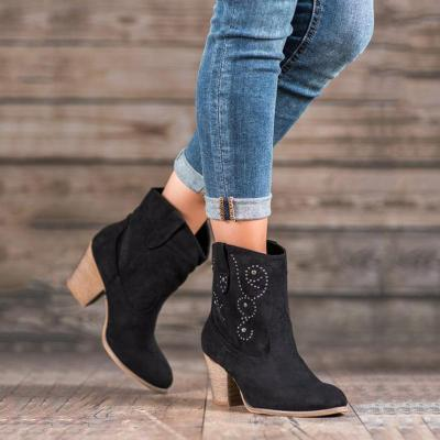 Women's fashion solid color rivet pattern boots