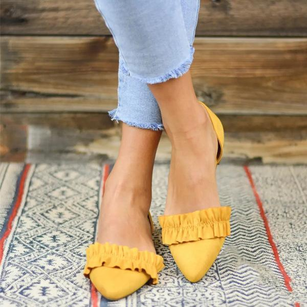Point Toe Ruffle Trim Casual Flats Hollow Sandals