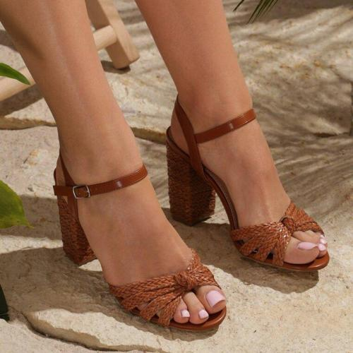 Women Summer Interweave Casual Buckle High Heels Sandals