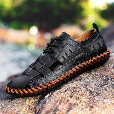 Men Hand Stitching Breathable Hollow Out Flats